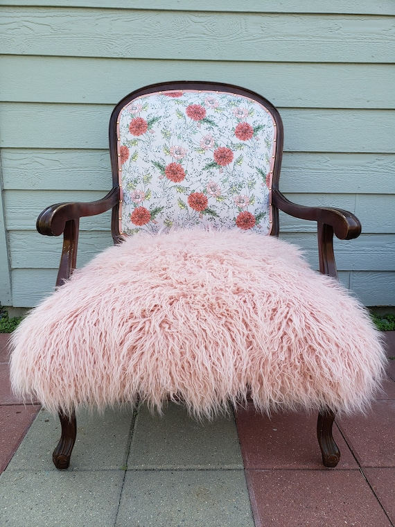 Rose Print Mauve Faux Fur Accent Chair