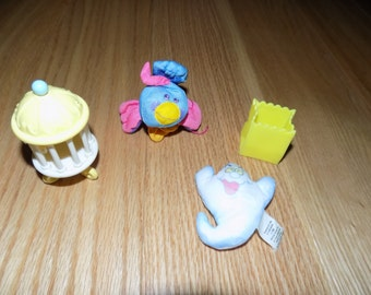 Smooshees cuddlers perchy bird cage Fisher Price Hallmark ghost treat bag Smooshies Vintage Lot