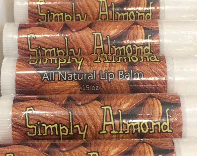 Simply Almond Lip Balm, Natural, Beeswax, Michigan Made, Light Flavor, Chapstick, Almond, Gift, Party Favor, Marzipan, Moisturize,  Coconut