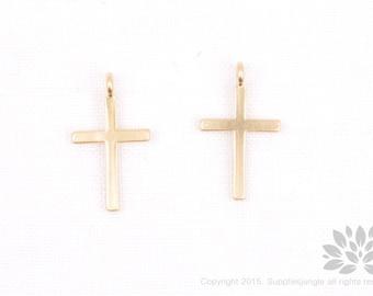 P742-MG// Matt Gold Plated Cross Pendant, 2 pcs
