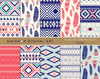 Tribal Digital Paper 'Navajo' Digital Download Geometric and Feather Patterns for Cards, Scrapbook, Invitations, Stickers...