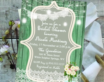 Digital Bridal Shower Invitation - Rustic - Shabby Chic - Lights - Lace - Mason Jar - Floral - Printable - Personalized - 025