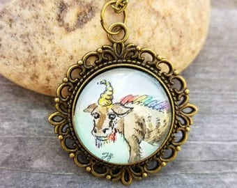 Gnunicorn necklace. Hand Painted Rainbow gunicorn. Gnu unicorn necklace in watercolor. Quirky Gift, unique necklace.