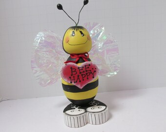 Bee Happy bumble bee, desk decor, teacher gift, shelf sitter, mantle decor.