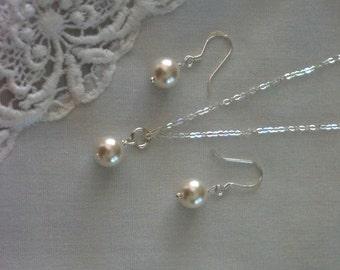 Set of 5 Pearl Bridesmaid Jewelry Wedding Jewelry Bridesmaid Gift