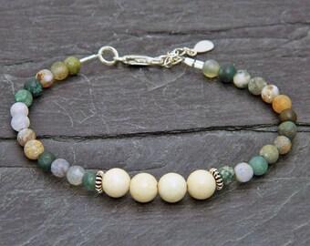 Indian agate Frosted.Fosil bracelet.Gemstone bracelet.Sterling silver bracelet.Tiny silver bead bracelet.Friendship bracelet.GE039