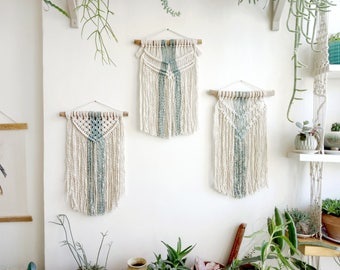 Trio macrame Tapestry,Boho Wall Hanging,3 Macrame Wall Hanging,Small Macrame Hanging, Wall Tapestry, Boho decor, Wall art, Trio tapestry