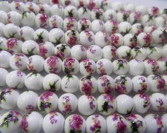 6MM/8MM/10MM/12MM/14MM/16MM Round Rose Lotus Flower Ceramics Beads 15L'' Wholesale Ceramic Beads