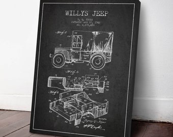 1942 Willys Jeep Patent Canvas Print, Jeep print, Military Jeep, Patent Art, Patent Decor, Wall Art, Home Decor, Gift Idea, TR12C