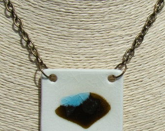 Handmade ceramic and glass necklace, hand-made black-blue pendant in Spain, handmade pendants