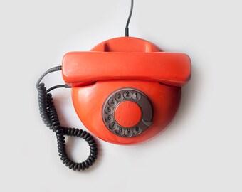 SALE///Vintage orange rotary phone