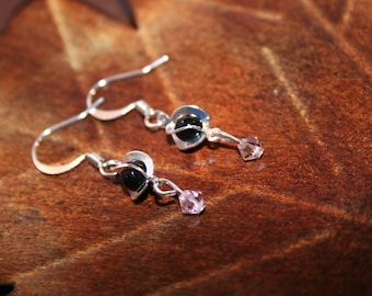 Silver Earrings with Wrapped Black and Pink Crystal