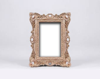 Rosewood Baroque Picture Frame, Sienna Distressed Frame, Natural Wood Effect Patina, Raw Wood Aspect Paint, Wood Look, Natural Wood Color
