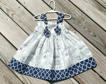 Easter Dress - Nautica Dress - Toddler Dress  - Navy Nautical Dress - Sailboats -  Girls Birthday Dress - Toddler Girl Dress -  Groovy Gurlz
