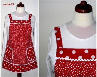 """Red Polka Dot Pinafore Apron, """"no tie apron"""" - loose-fitting smock apron - all day apron, made-to-order XS to Plus Size"""