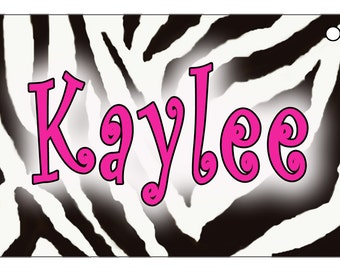 Jungle Zebra Design Bicycle License Plate Gifts For Girls Ladies Personalize in Any Color Exotic