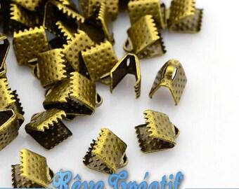 50pcs Iron Ribbon Ends, Antique Bronze, 8x8x5mm, Hole: 2mm