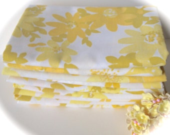 Vintage Sheet Fabric -  Fat Quarter - Yellow and Gold Flowers