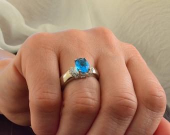 925 Sterling Silver Blue Topaz Ring, December Birthstone Ring, Bridal Ring, Engraved Ring, Engagement Ring, Anniversary gift for Women
