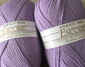 Purple Yarn Plymouth Encore Worsted Weight Yarn color 1308 lilac purple