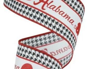 "2.5"" Alabama Ribbon, Alabama Football Helmet Ribbon, Crimson Tide Ribbon, Alabama Houndstooth Ribbon (10 Yards) - RG1755"