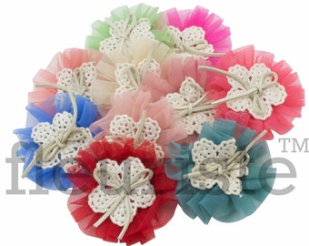 Choose colors Tulle Flowers, Satin flower, Fabric rose, Rolled Rosette, Wholesale Flower, Fabric Flower, Hairbow Flower, Flower for headband