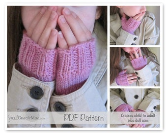 Handwarmer Knitting Pattern Adult/Child/Doll - Manchester Mitts - Fingerless Mitts Knitting patterns for adult, child and doll