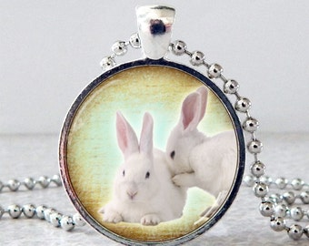 White Bunnies Glass Pendant Necklace, White Rabbits Pendant, Rabbit Jewelry, White Rabbits Necklace, Christmas Present, Stocking Stuffer