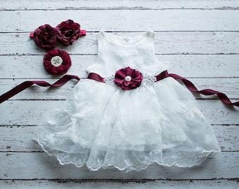 Rustic Flower Girl Dress, White Lace Dress- Rustic Lace Flower Girl Dress, Lace Rustic Dress, White Baptism Dress, Birthday Dress