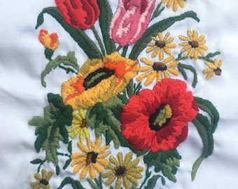 Vintage 1970's Floral Crewel Embroidery / Wall Art