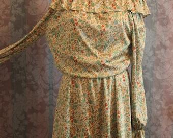 Sz S Green Floral Dress Semi High Low Hem Silk Like Off Shoulder Mini Dress