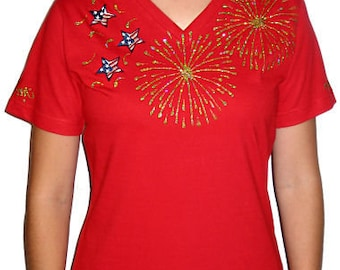Patriotic shirts, Red Firework shirt July 4th shirt, women's T-shirts, bling firework shirts, rhinestone bling shirts, bling t shirt