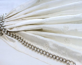 Ivory White Silk Dupioni Fabric with Small Embroidered Beaded White Swirls