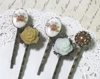 Amber Rose Vintage Cameo Hair Pin Set (Set of 5)