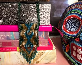 Beaded Necklace Pattern Argyle Fringe Pouch Pocket Mexican