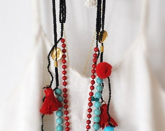 Boho Style Necklaces,  Raw Crystal Necklace,  Coral Gemstone Necklace,  Turquoise Gemstone Necklace,  Bohemian Tassel Necklaces,  Set of 3
