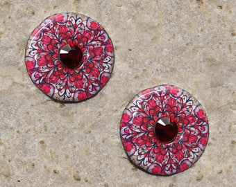 2 cabochons 25 mm round resin with Rhinestone