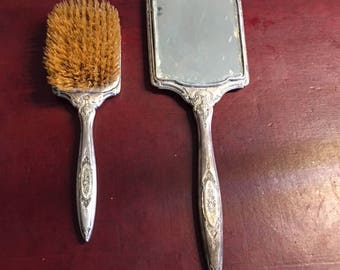 Vanity Brush & Mirror Set