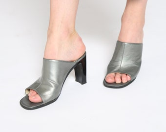 SILVER 1990s Real LEATHER MULES