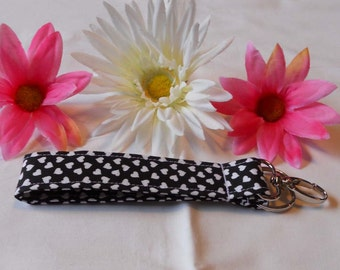 Keychain Wristlet - Black with White Hearts