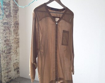 SALE-Xiao Studio Bronze Brown Virgin Cotton Blouse L