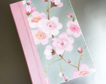 Handmade Journal with Pink and Gray Cherry Blossom Hard Cover