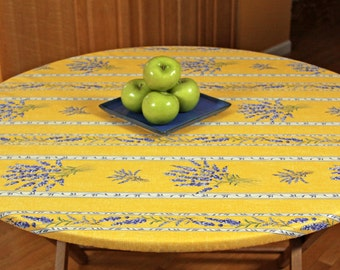 """Elasticized Round 31""""-40"""" Fitted Coated Tablecloth - Choose the Size & Fabric - Umbrella Hole Available. French Provencal Waterproof Fabric"""