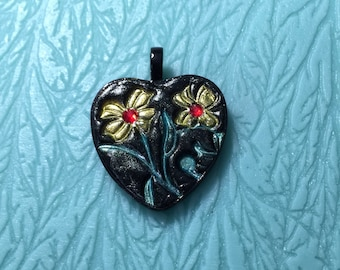 25 mm Double Flower Jewel Pendant, polymer clay