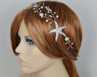Bridal Starfish Hair Vine Swarovski Pearls Swarovski Crystal Leaves Beach Wedding Headband Flowers Headpiece - Ships in 3-5 business Days
