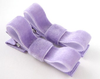 Lavender Velvet Tuxedo Bow Hair Clips - Set of 2 - Matching Pair Light Purple Barrettes for Baby