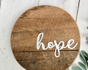 "hope 12"" Barnwood Round Sign - Rustic Home Decor - Metal Word - Entryway Decor - Farmhouse Decor - Wood Sign -Simply Inspired-Gallery Wall"