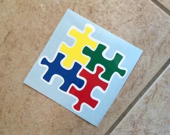 Custom Autism Puzzle Piece Vinyl Car Decal-Autism Awareness-Autism Love-Children-Mom-Dad