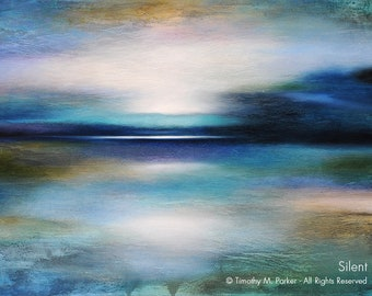 Abstract Seascape Fine Art Paper Print • SILENT • Contemporary Sunset Landscape & Seascape Painting Reproduction • Abstract Sunset Beach Art