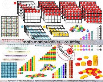 Math Manipulatives Counting Clipart Mega Bundle Set - (300 dpi) School Teacher Clip Art Numbers Math